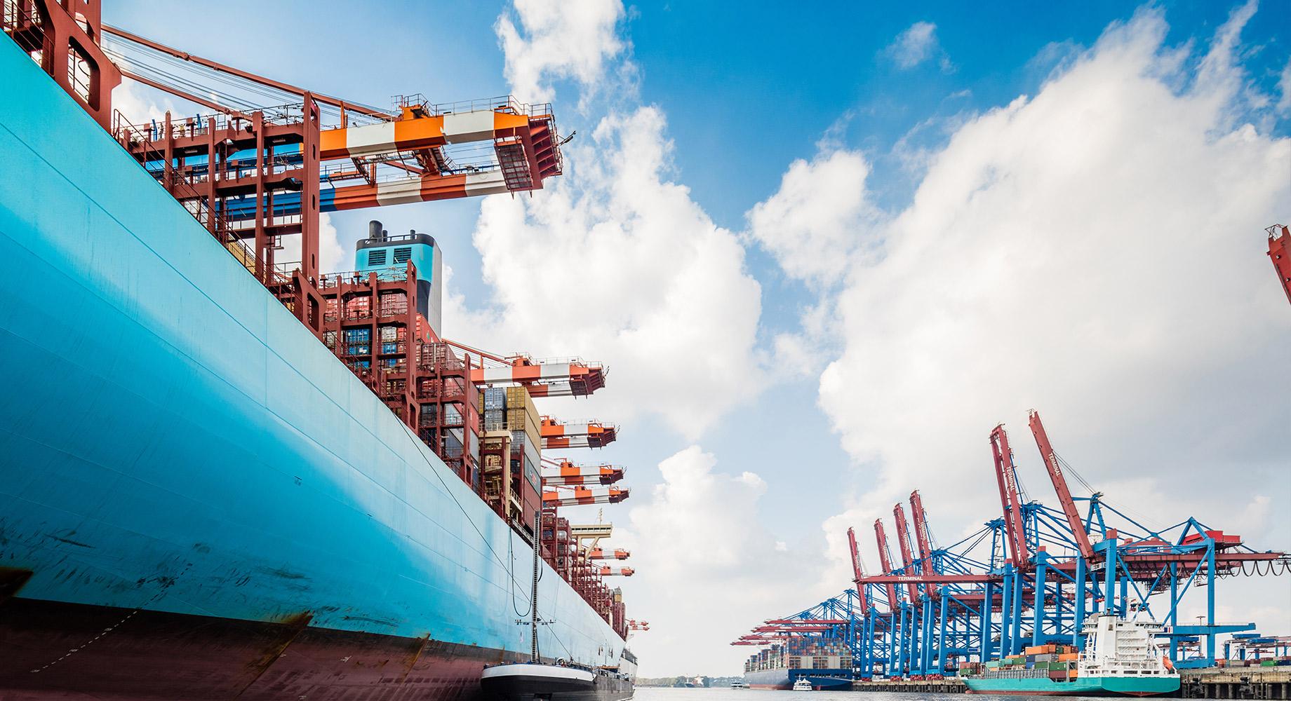 A shipyard awaiting freight