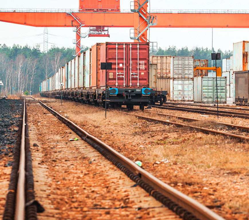 Container in a Rail Yard
